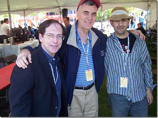Jerry Beck, John Canemaker and friend at 2005 Ottawa Animation Festival picnic.