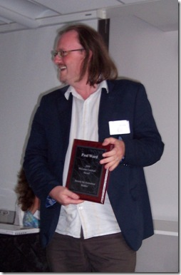 Paul Ward receiving SAS's McLaren-Lambert Award for best scholarly essay published.
