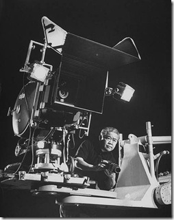 James Wong Howe with VistaVision camera