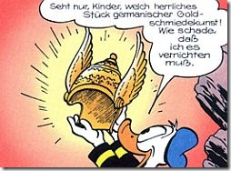 "Donald Duck in the German version of ""The Golden Helmet."""