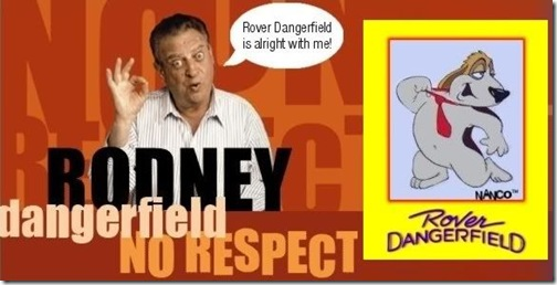 Rodney Dangerfield posess with his animated alter ego
