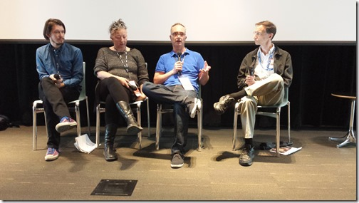 Stop-Motion Panel with (left to right) Bret Long, Nora Keely, and  Chris Walsh, moderated by Mark Mayerson - SAS 2014